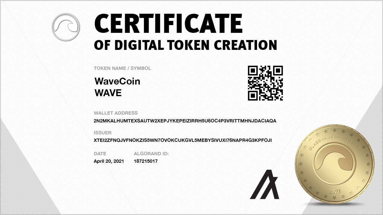 WaveCoin Crypto Creation Certificate from GlassWave